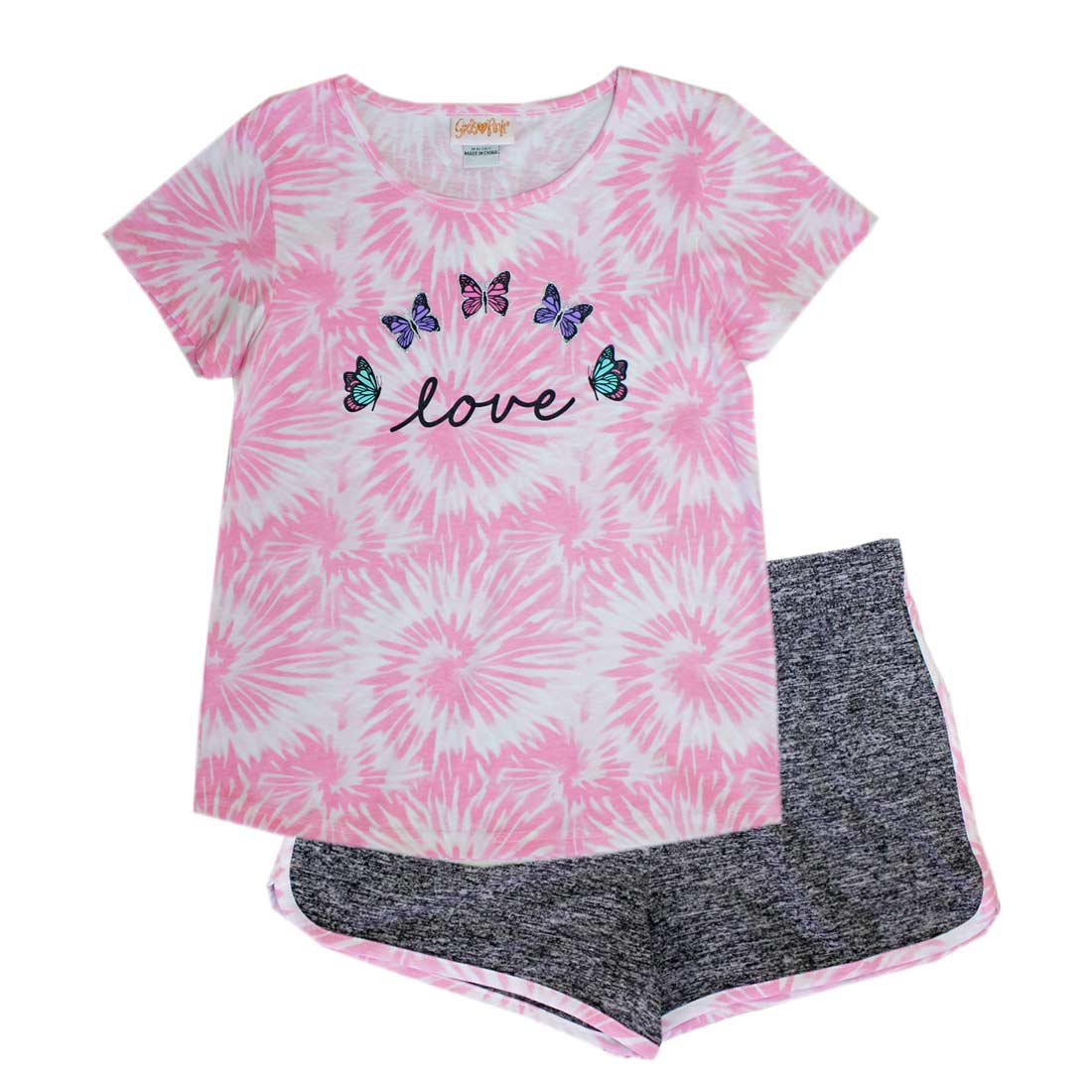 GIRLS PINK Love and Butterfly Screen Top w Shorts-2292367