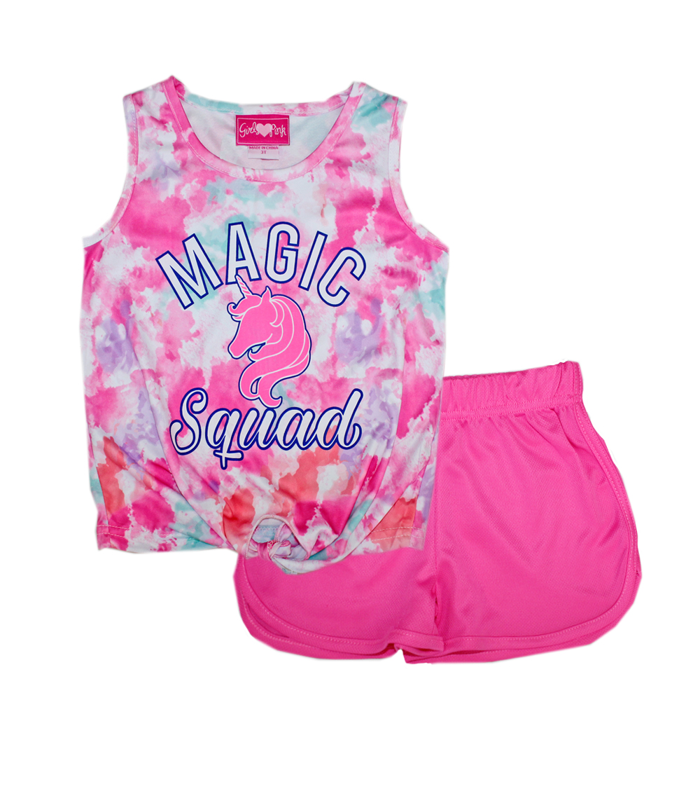 GIRLS PINK Toddler Tie Dye Top and Closed Mesh Shorts
