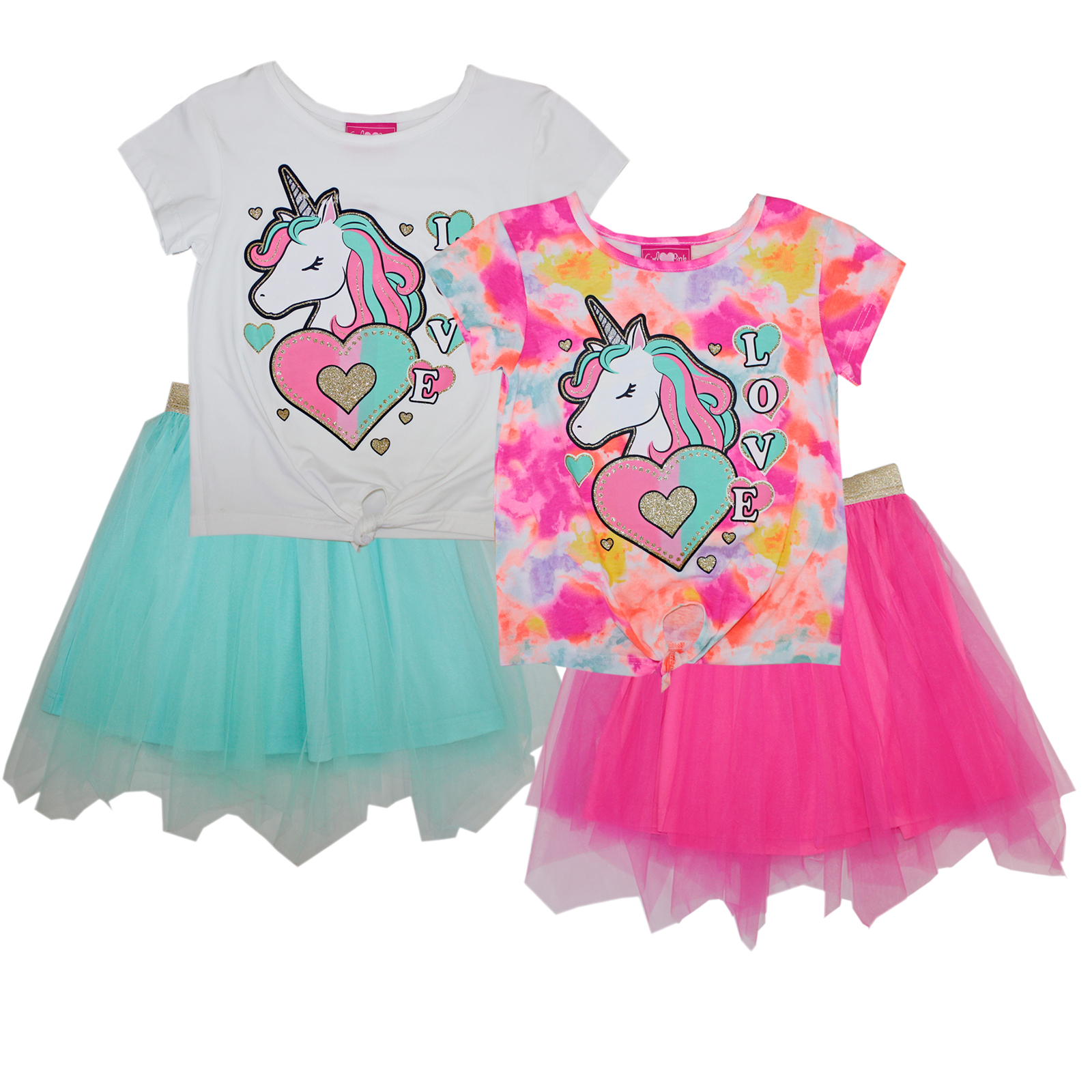 GIRLS PINK 7-12 Unicorn Love Knit Top W Tulle Skirt