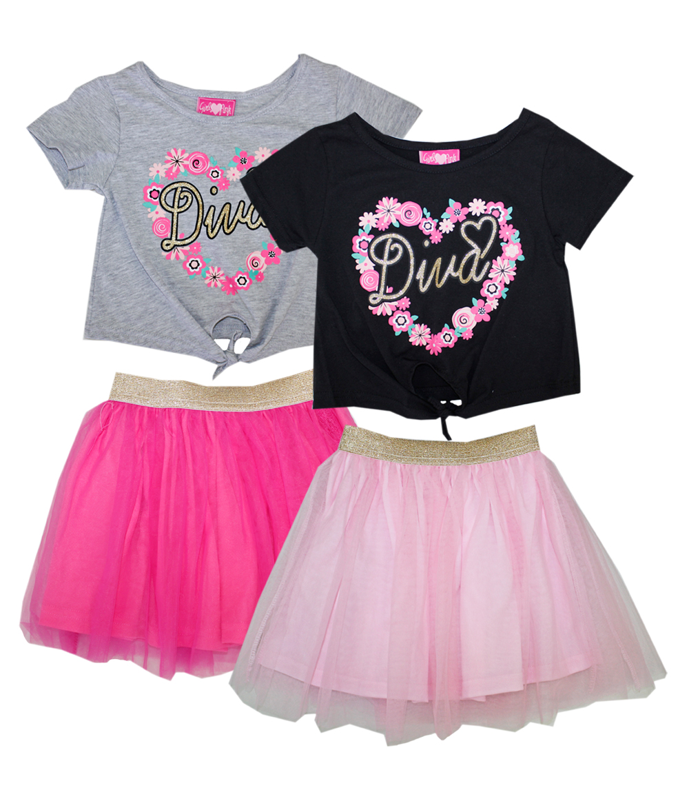 GIRLS PINK Toddler Diva Screen Top Tutu Skirt Set