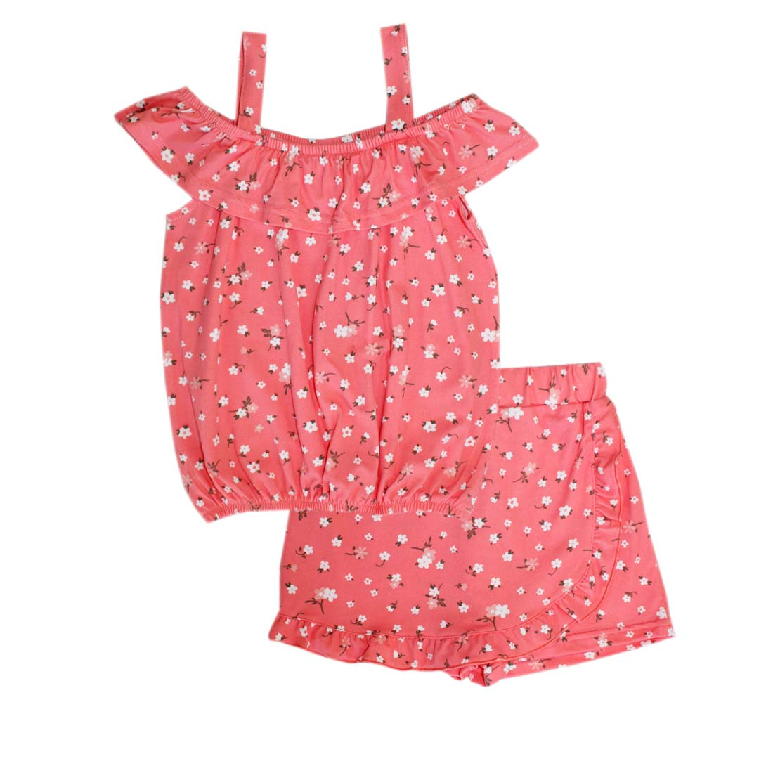 GIRLS PINK Blush Print Off Shoulder Top and Skort with Ruffle-2457002