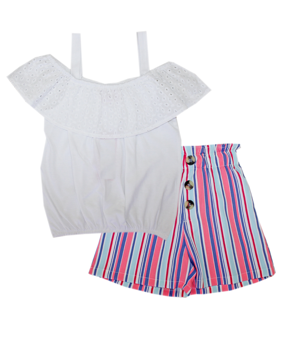 GIRLS PINK 7-16 Eyelet Ruffle Top and Stripe Shorts