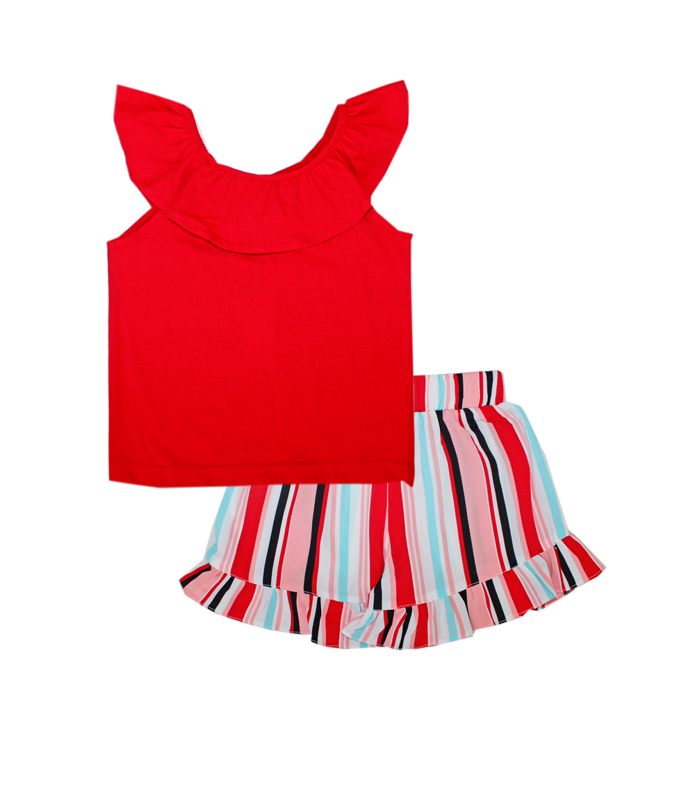 GIRLS PINK 4-6X Ruffle Crop Top w Polyester Crepe Shorts