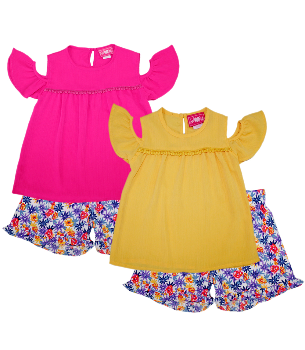 GIRLS PINK 4-6X Crepe Cold Shoulder Top and Soft Shorts