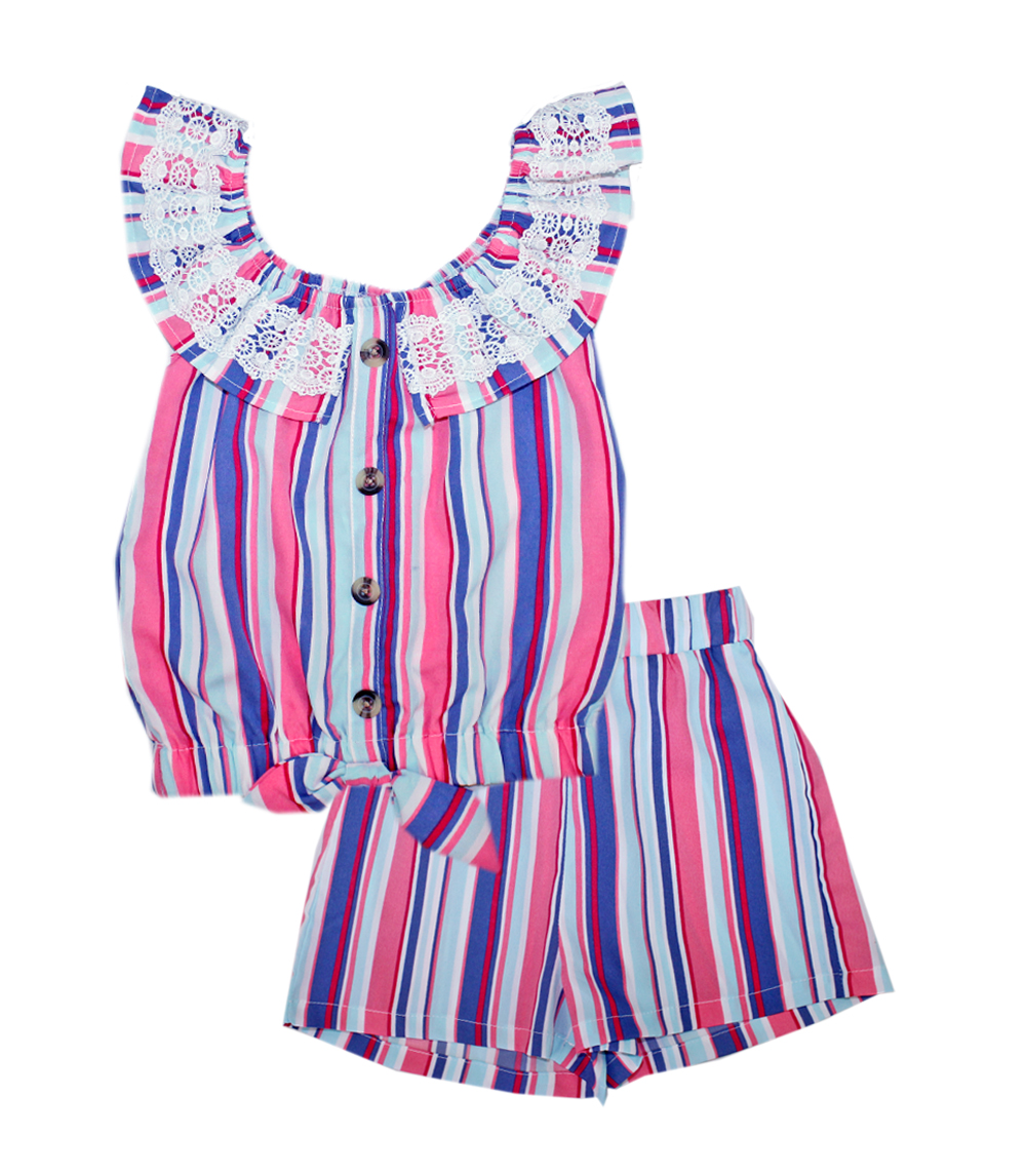 GIRLS PINK 4-6X Matchy Matchy w Lace on Ruffle Top