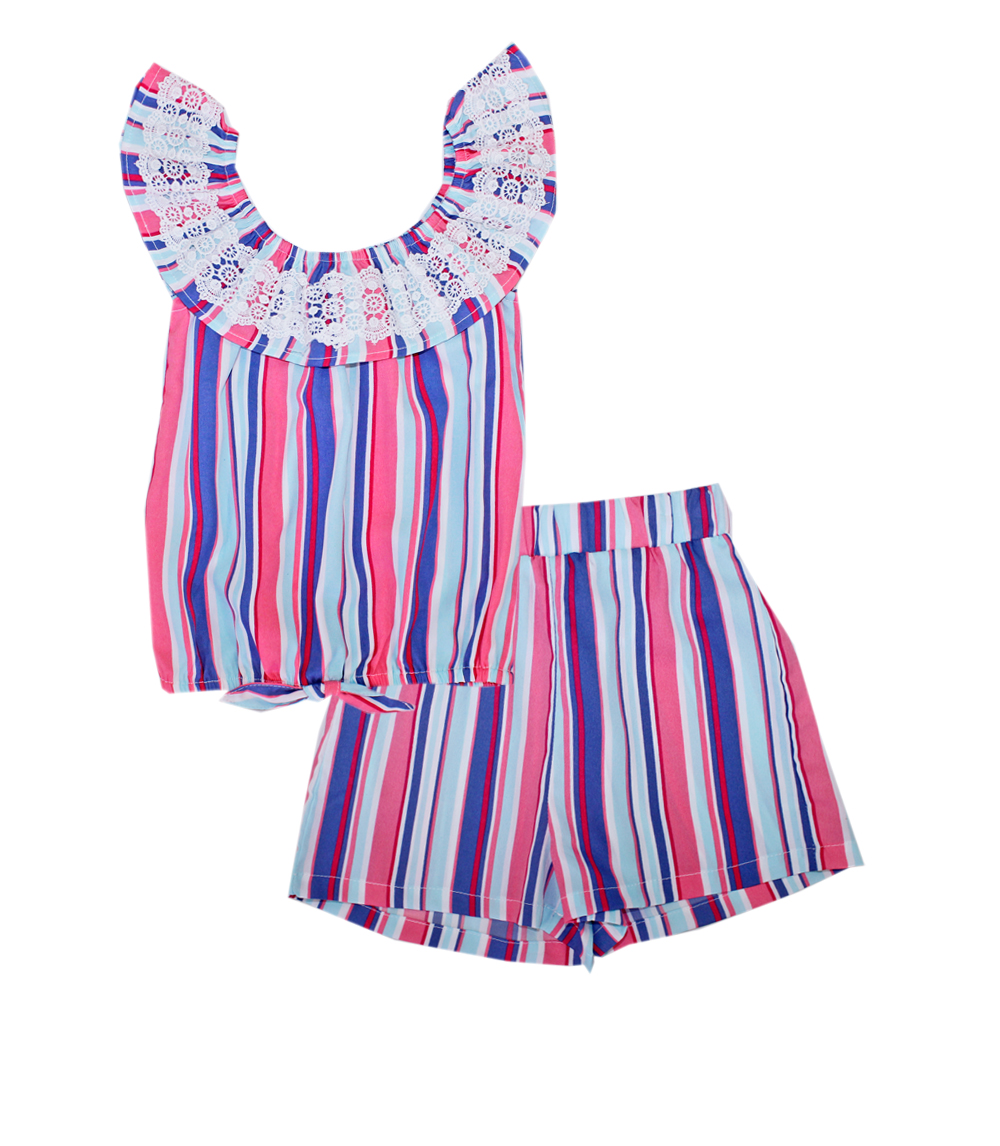 GIRLS PINK 7-16 Matchy Matchy Set w Lace on Ruffle Top