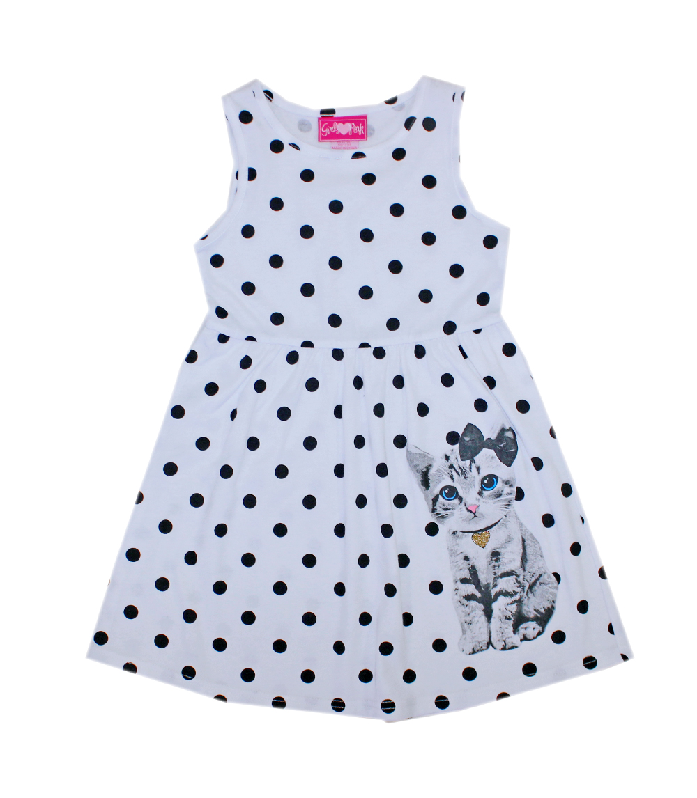 Printed Sleeveless Dress with Cat Screen