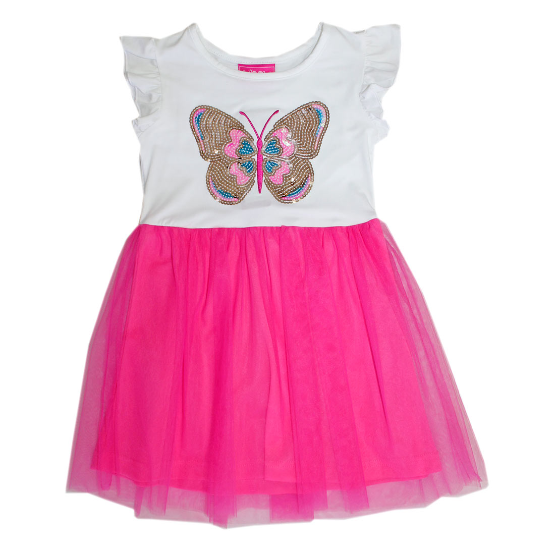 GIRLS PINK 4-6X Butterfly Screen Tulle Dress