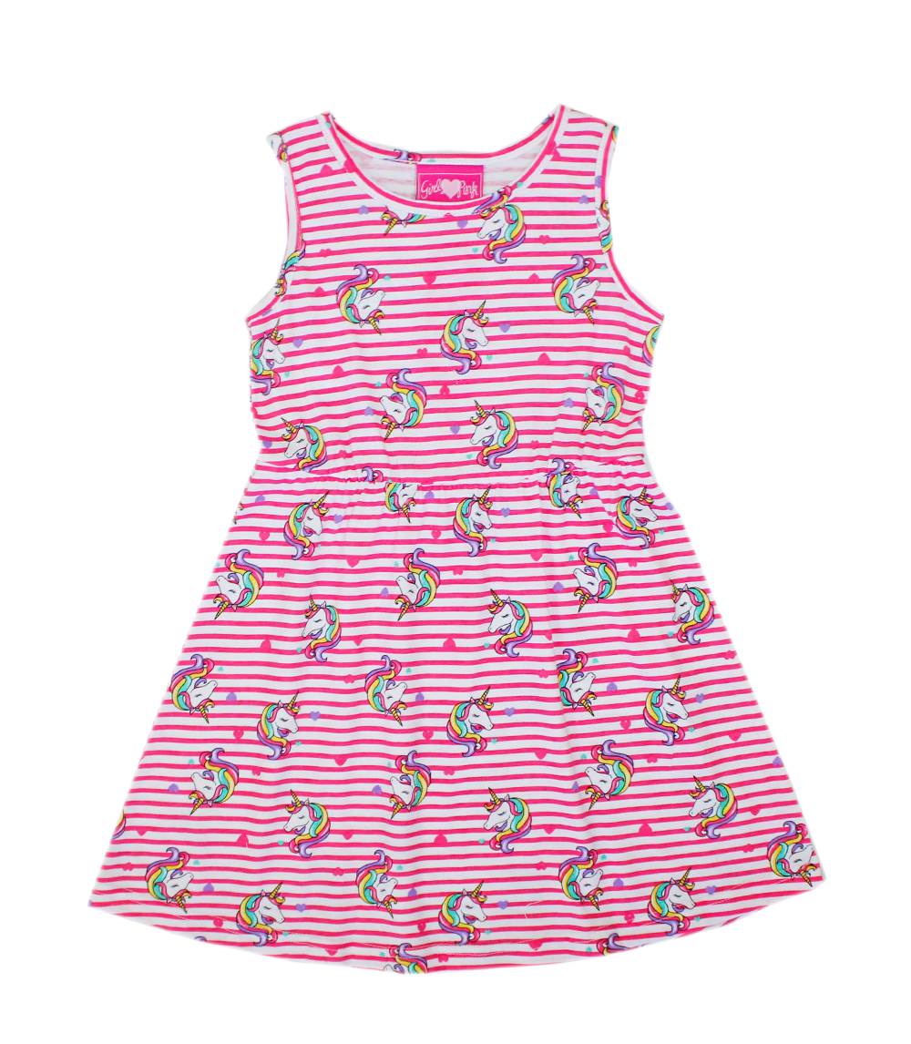 GIRLS PINK 4-6X Unicorn Print Sleeveless Dress