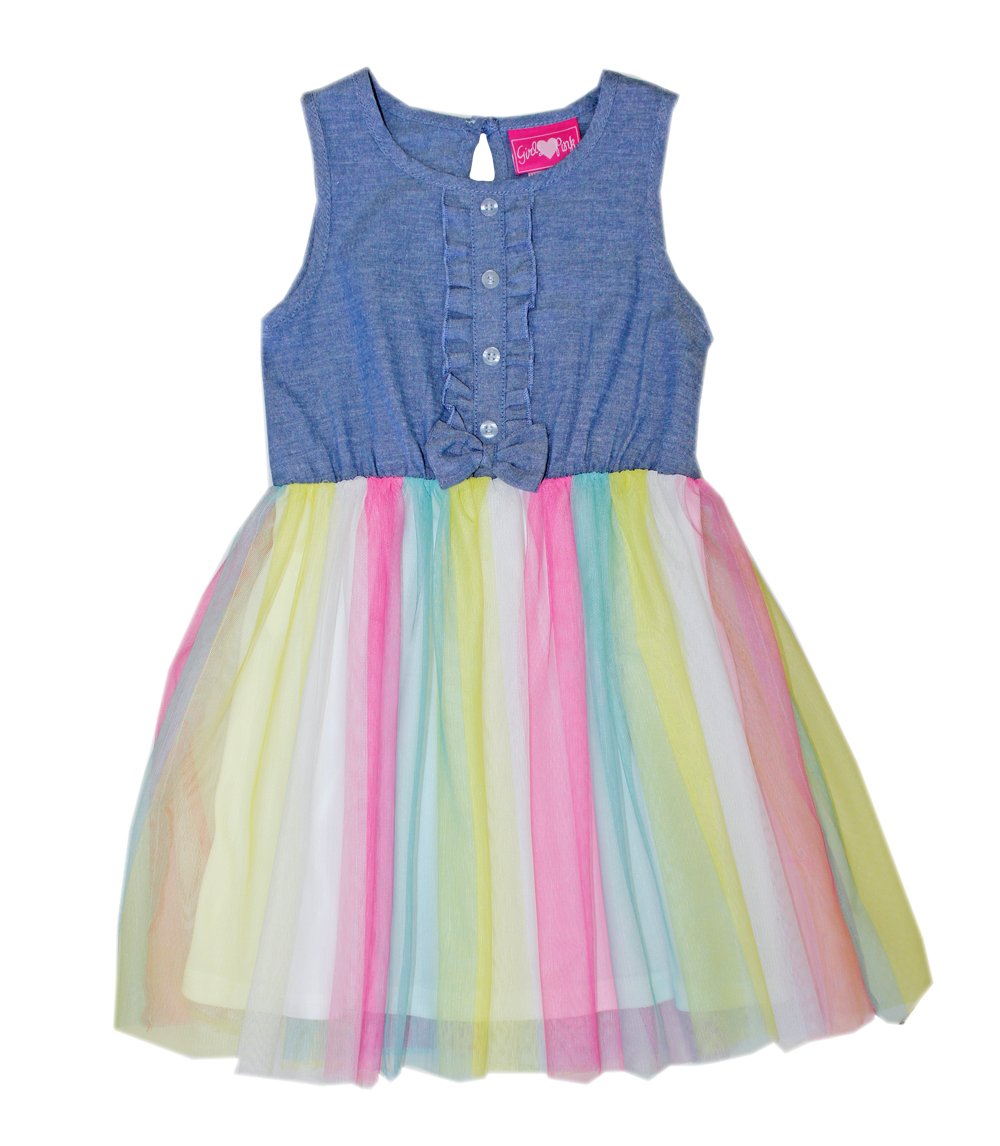 GIRLS PINK 4-6X Dress Chambray Top Rainbow Tulle