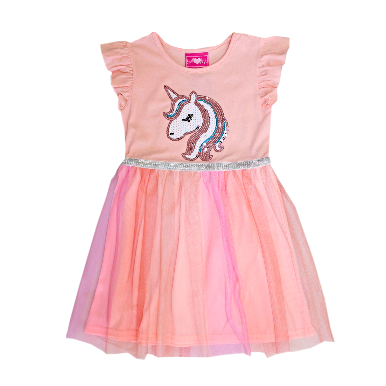 GIRLS PINK Toddler Unicorn Sequins Tulle Dress