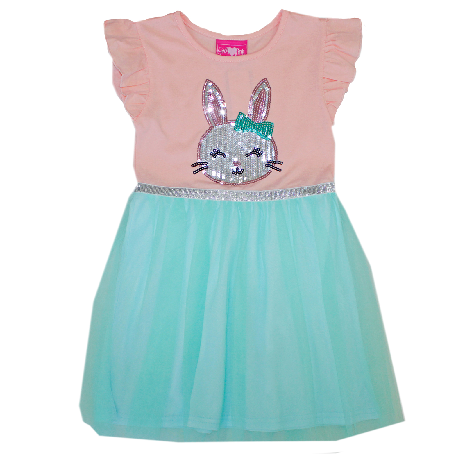 GIRLS PINK Toddler Bunny Sequins Tulle Dress