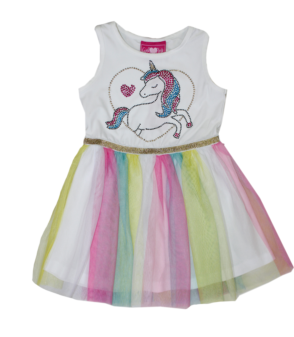 GIRLS PINK Infant Unicorn Screen w Tulle Dress