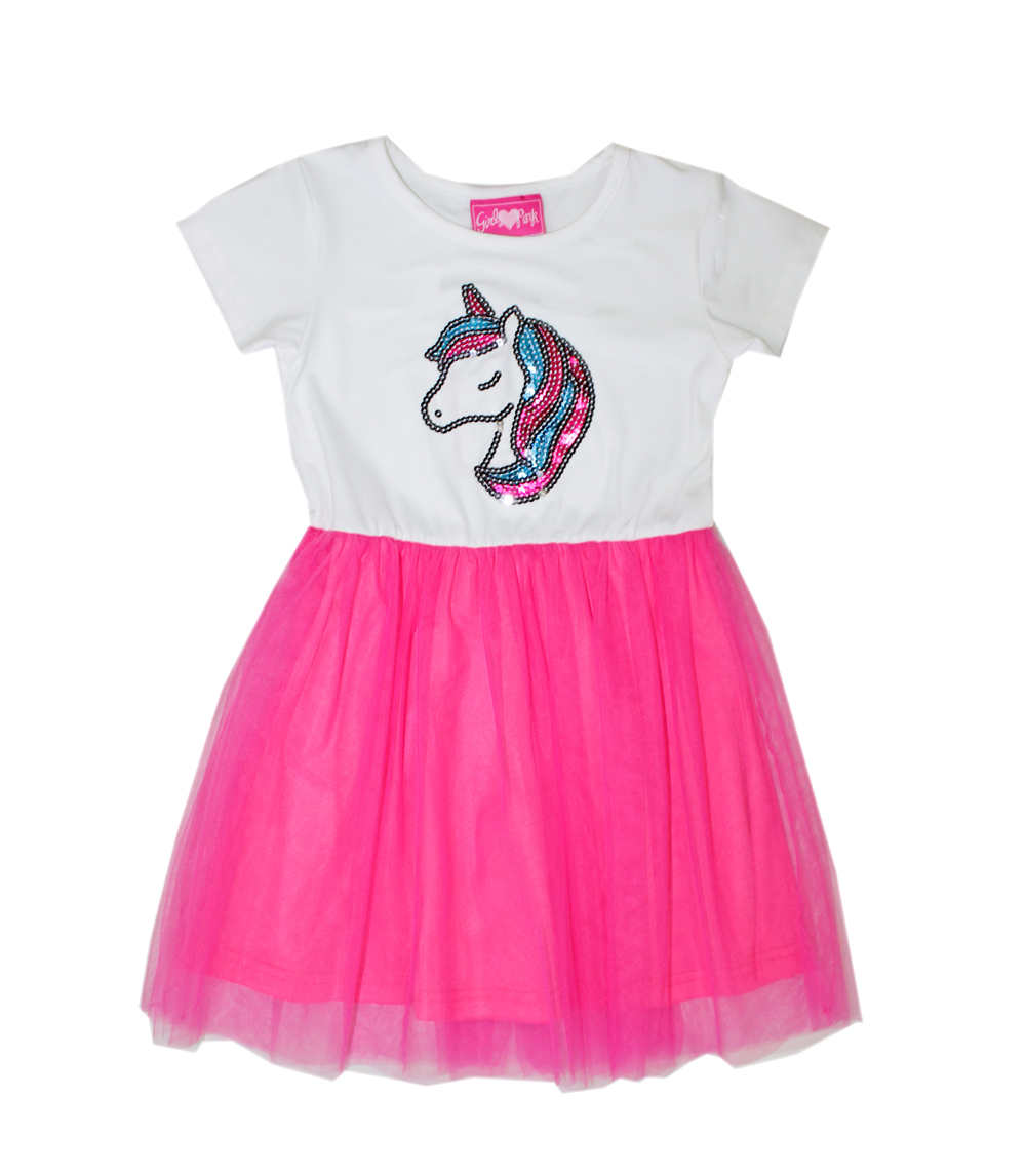 GIRLS PINK Toddler Unicorn Screen and Tulle Dress