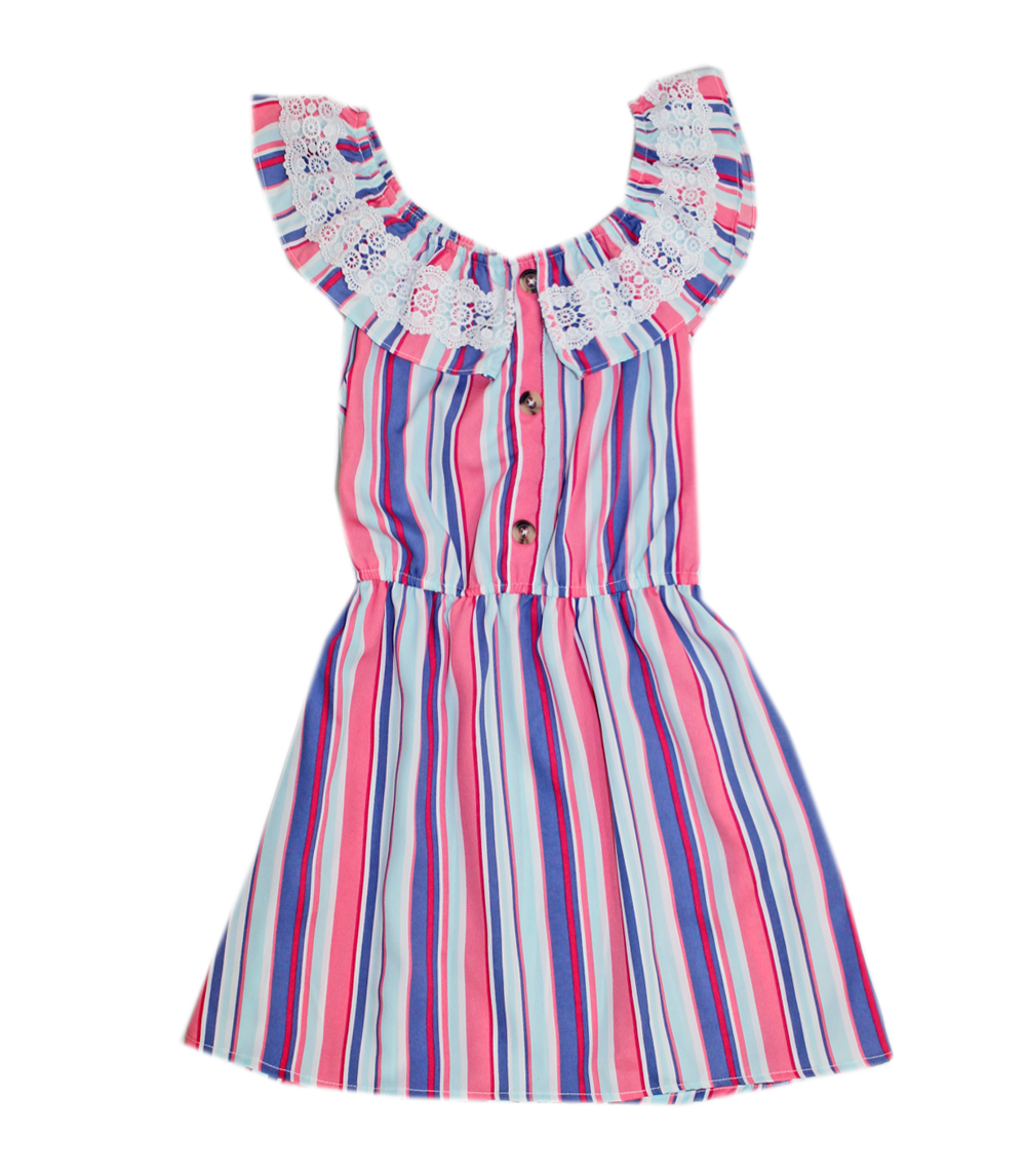 GIRLS PINK 4-6X Stripped with Lace Sleeveless Dress
