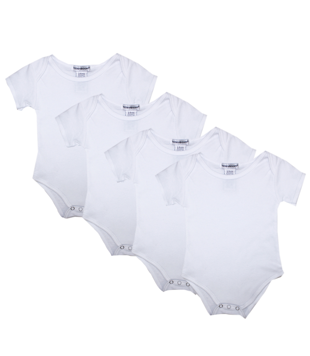 Teddy Boom Unisex White Infant 4 PC Creeper Set