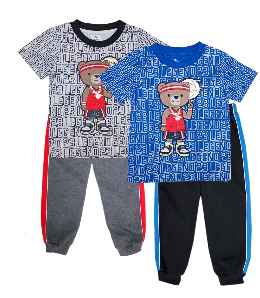 S1ope Toddler Boys Bear Screen Top w Jogger Pant