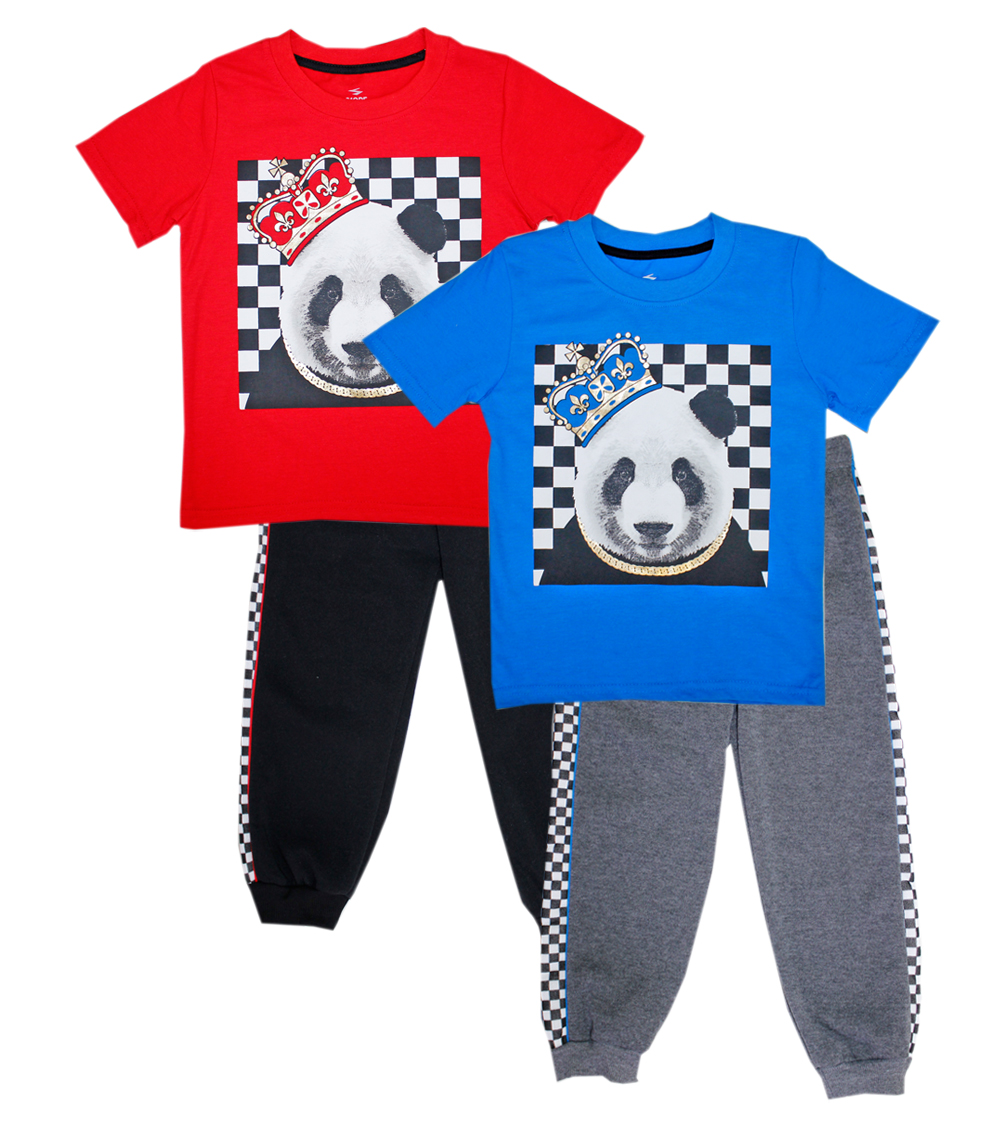 S1OPE 4-7 Boys Panda Screen Top W Jogger Pant