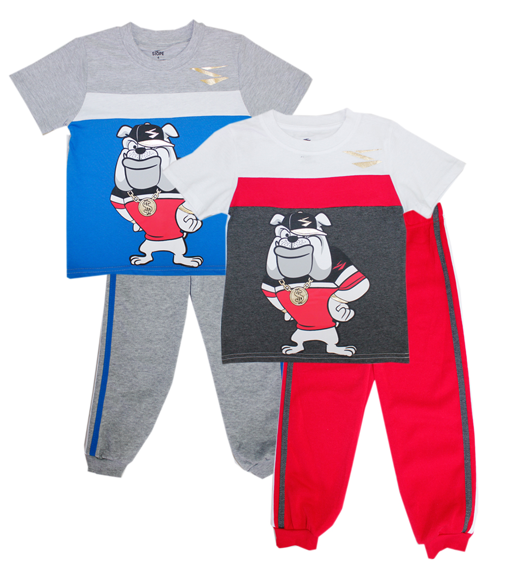 S1OPE 4-7 Boys Bull Dog Screen Top w Jogger Pant