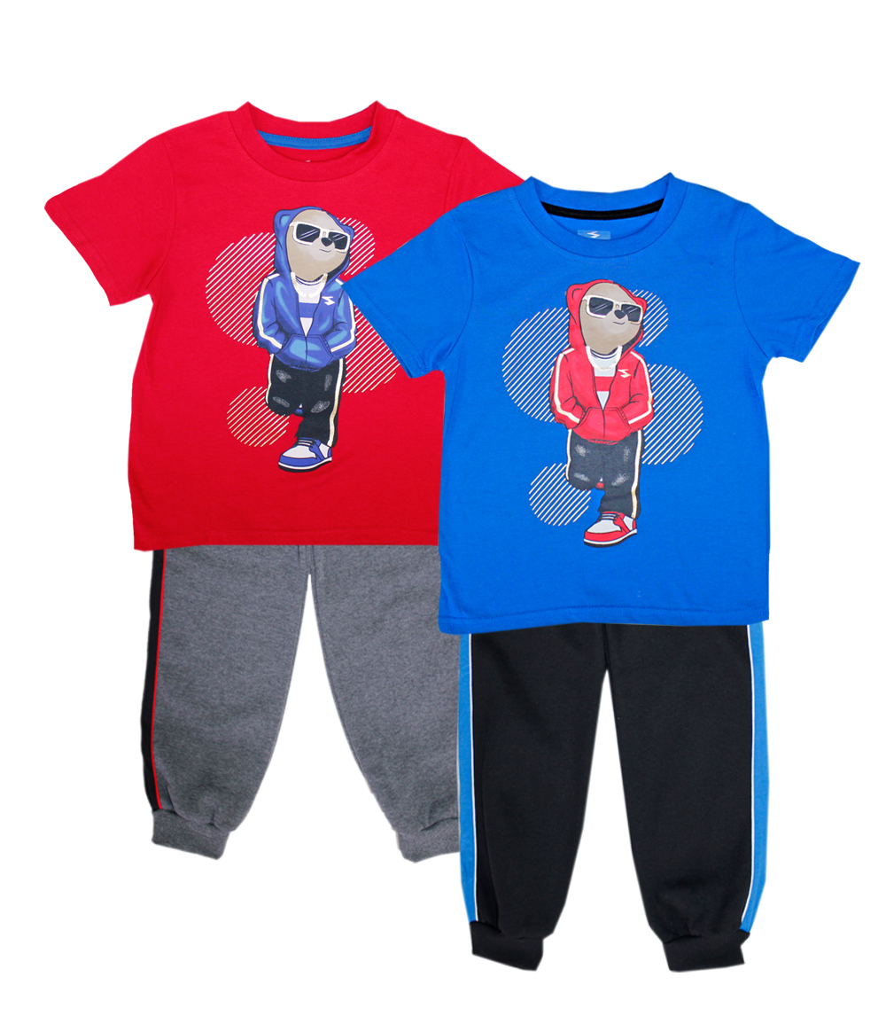 S1OPE 4-7 Boys Bear Screen Top w Jogger Pant