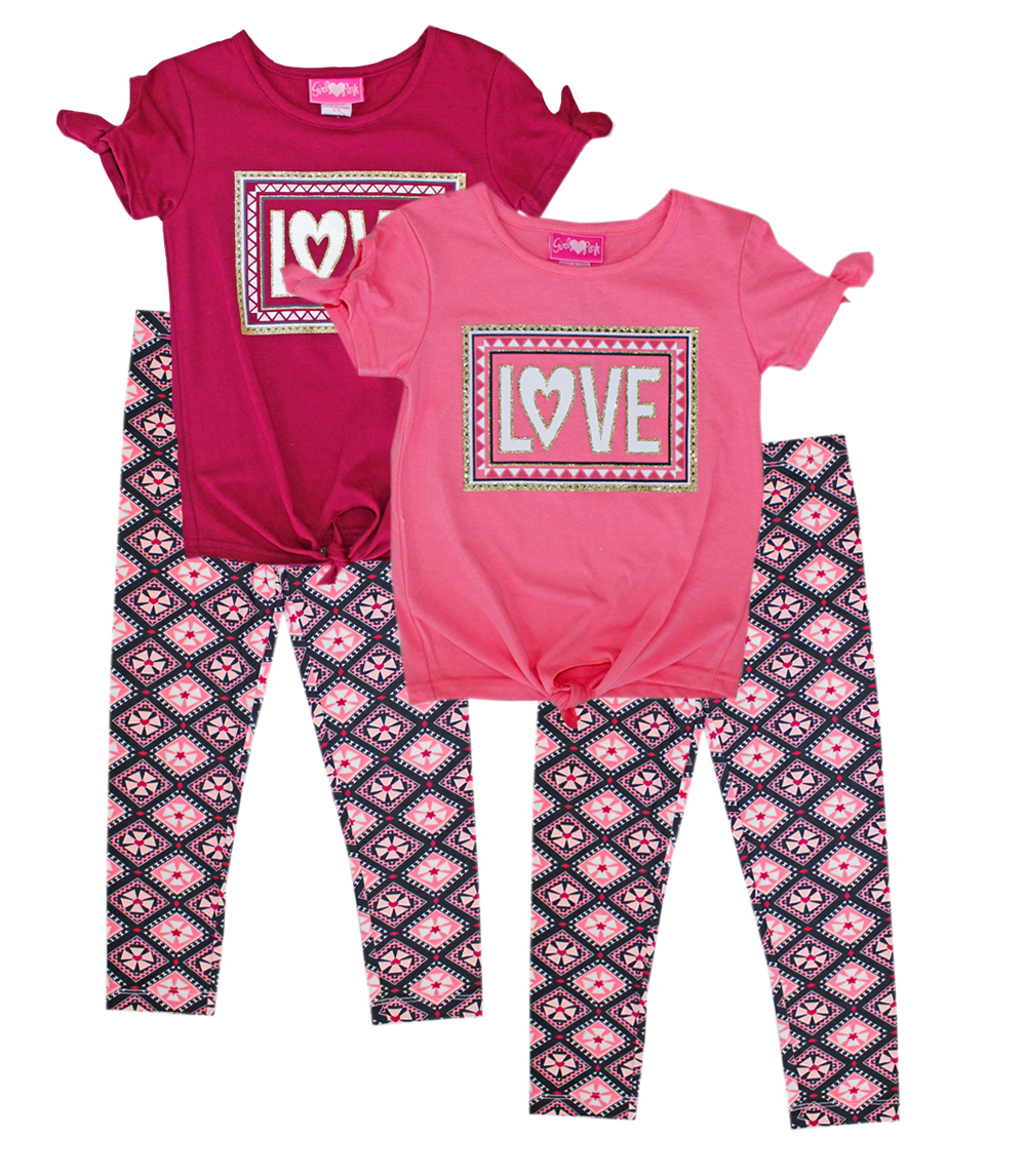 GIRLS PINK 4-6X Love Tie Front Top and Legging
