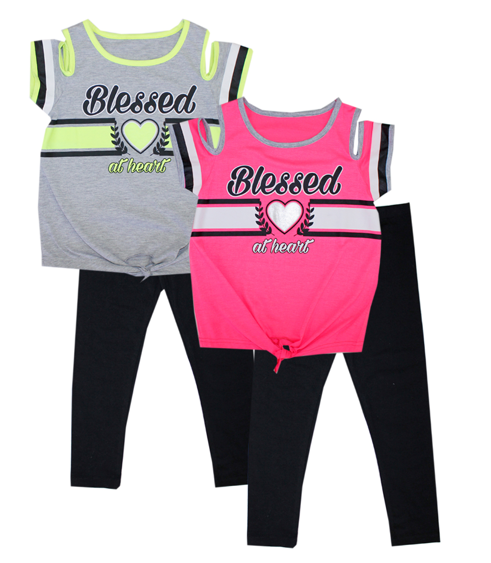 GIRLS PINK 7-16 Blessed Cold Shoulder Top and Legging