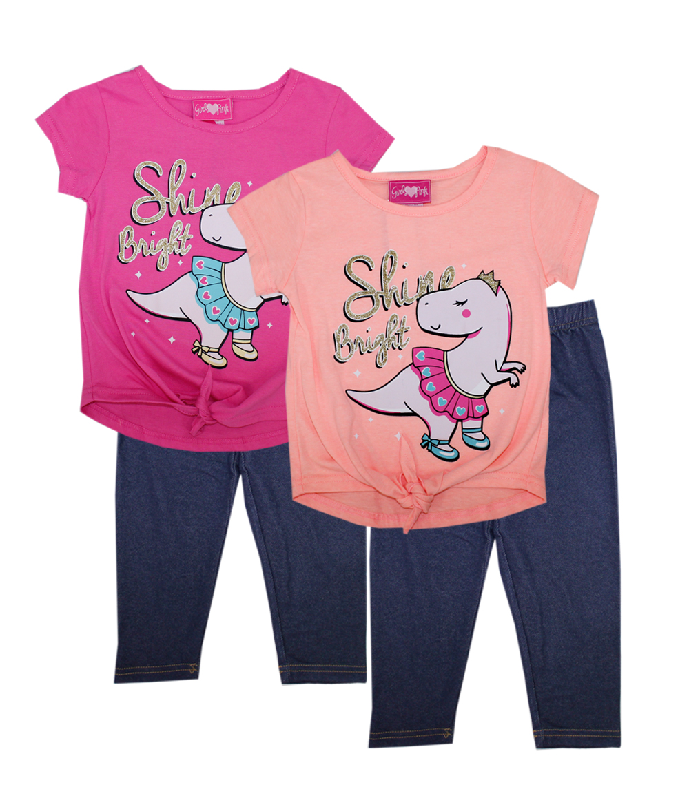 GIRLS PINK Toddler Dino Tie Front Top w Jegging