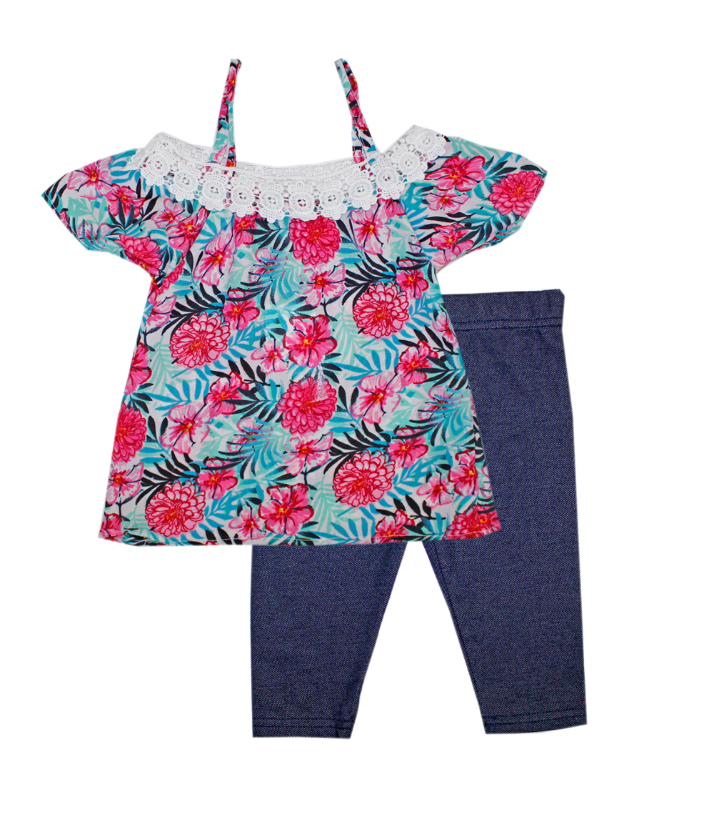 GIRLS PINK Infant Floral Moss Top w Jegging
