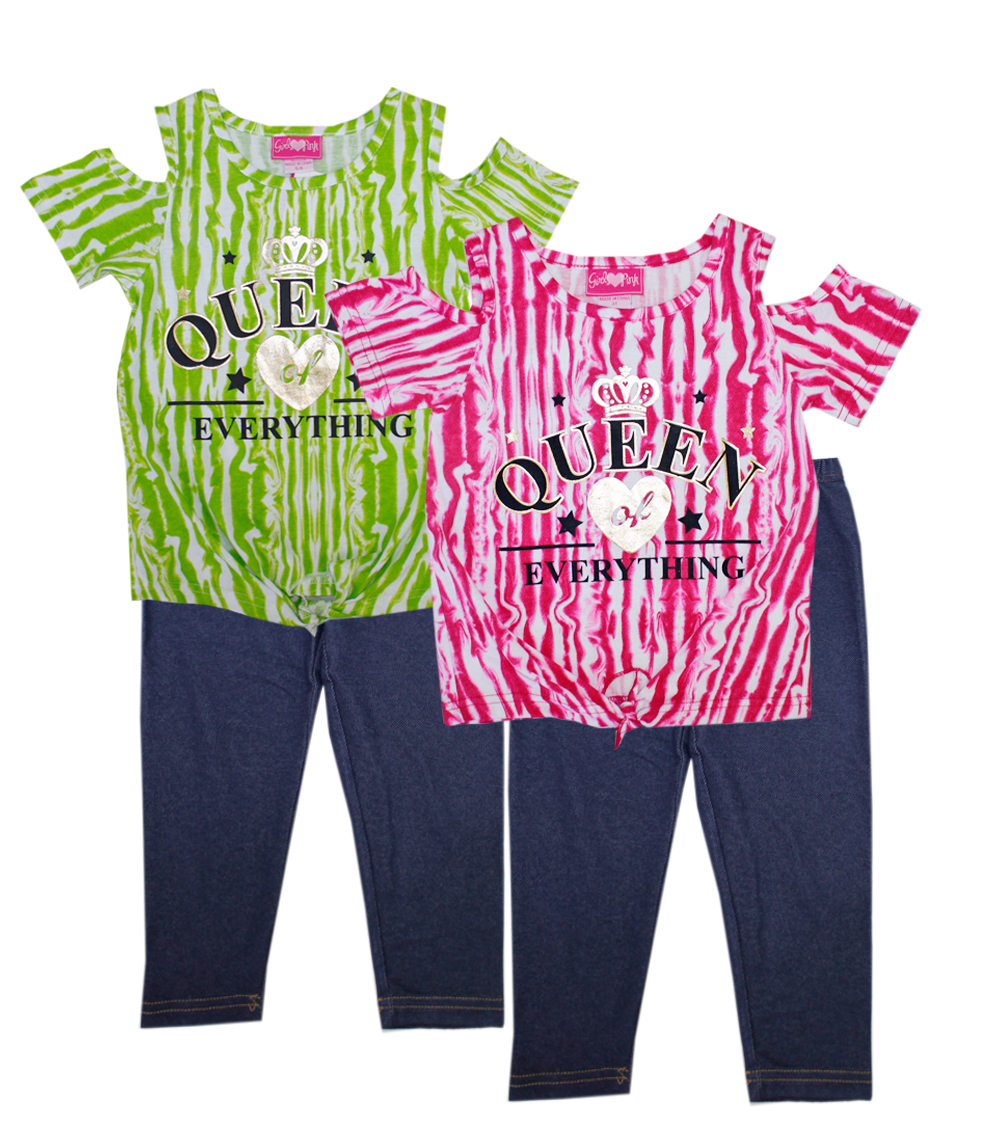 GIRLS PINK 4-6X  Queen Cold Shoulder Top Legging Set