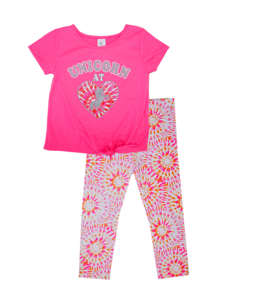 GIRLS PINK Infant Unicorn At Heart Screen Tie Front with Legging