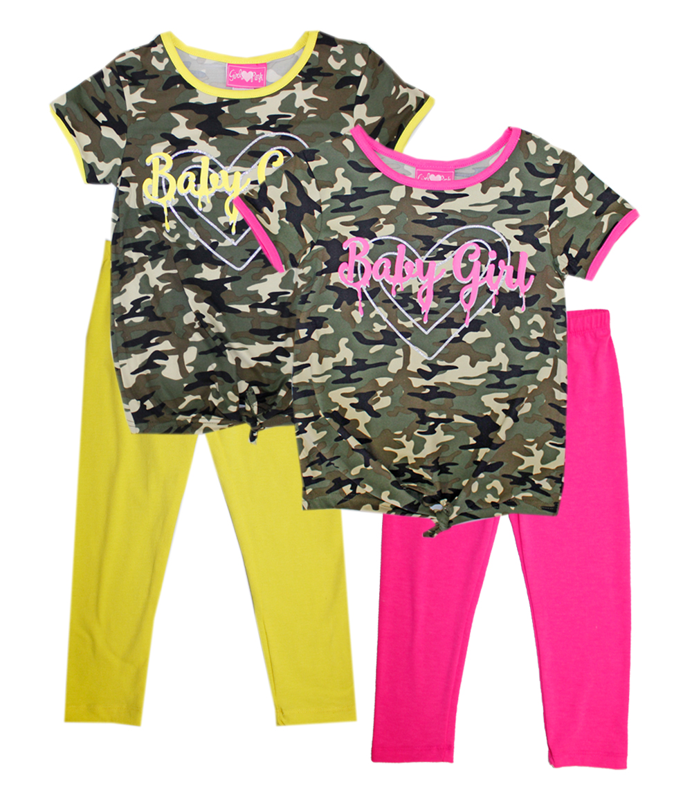 GIRLS PINK Toddler Tie Front Camo Print Top And Legging