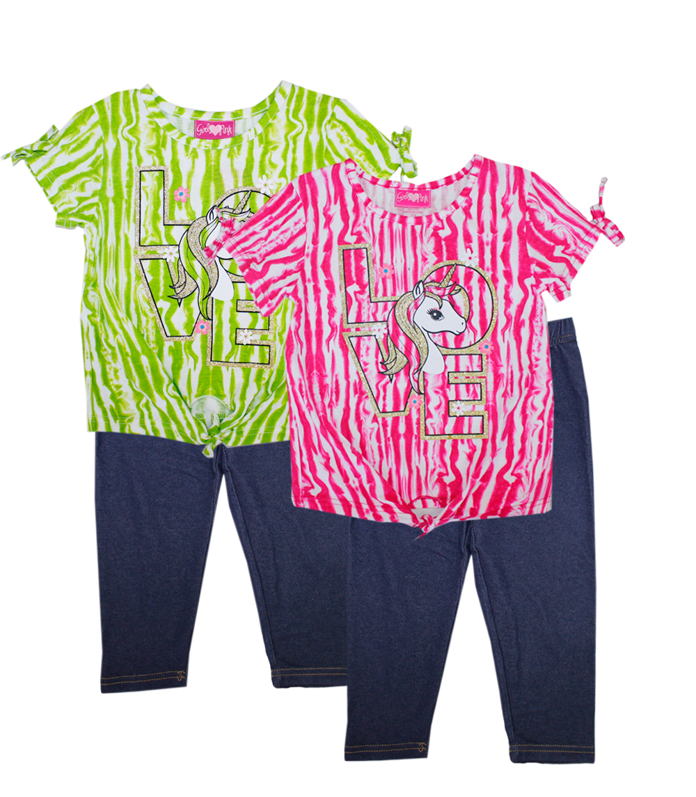 GIRLS PINK 4-6X Love Unicorn Screen Top & Jegging