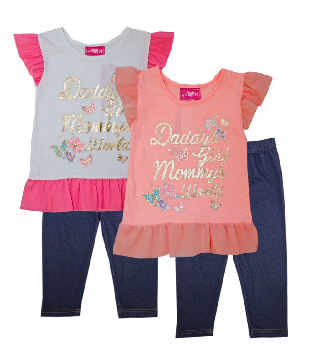 GIRLS PINK Infant Butterfly Screen Top w Jegging