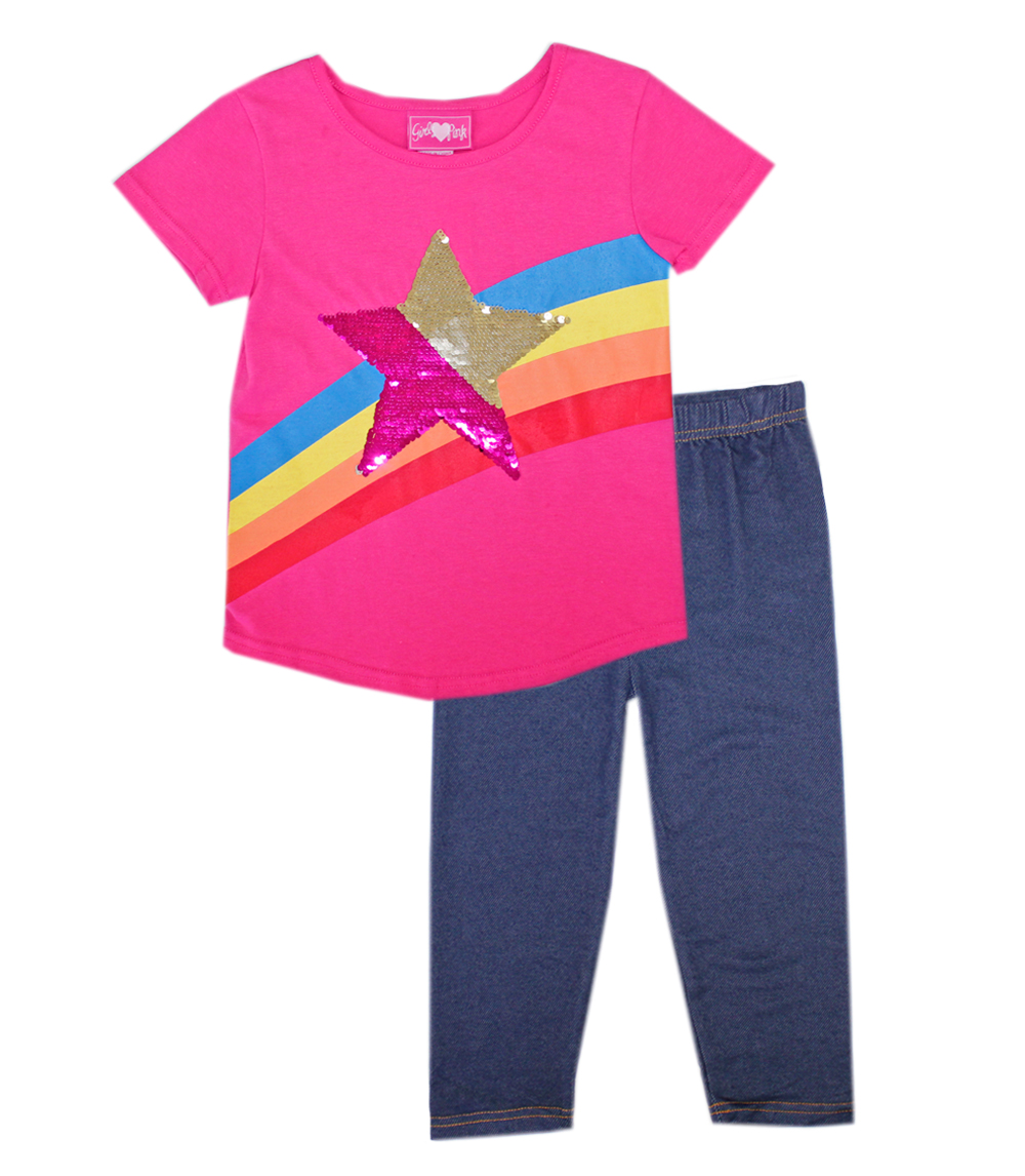 GIRLS PINK 7-16 Top W Sequin Patch and Jegging