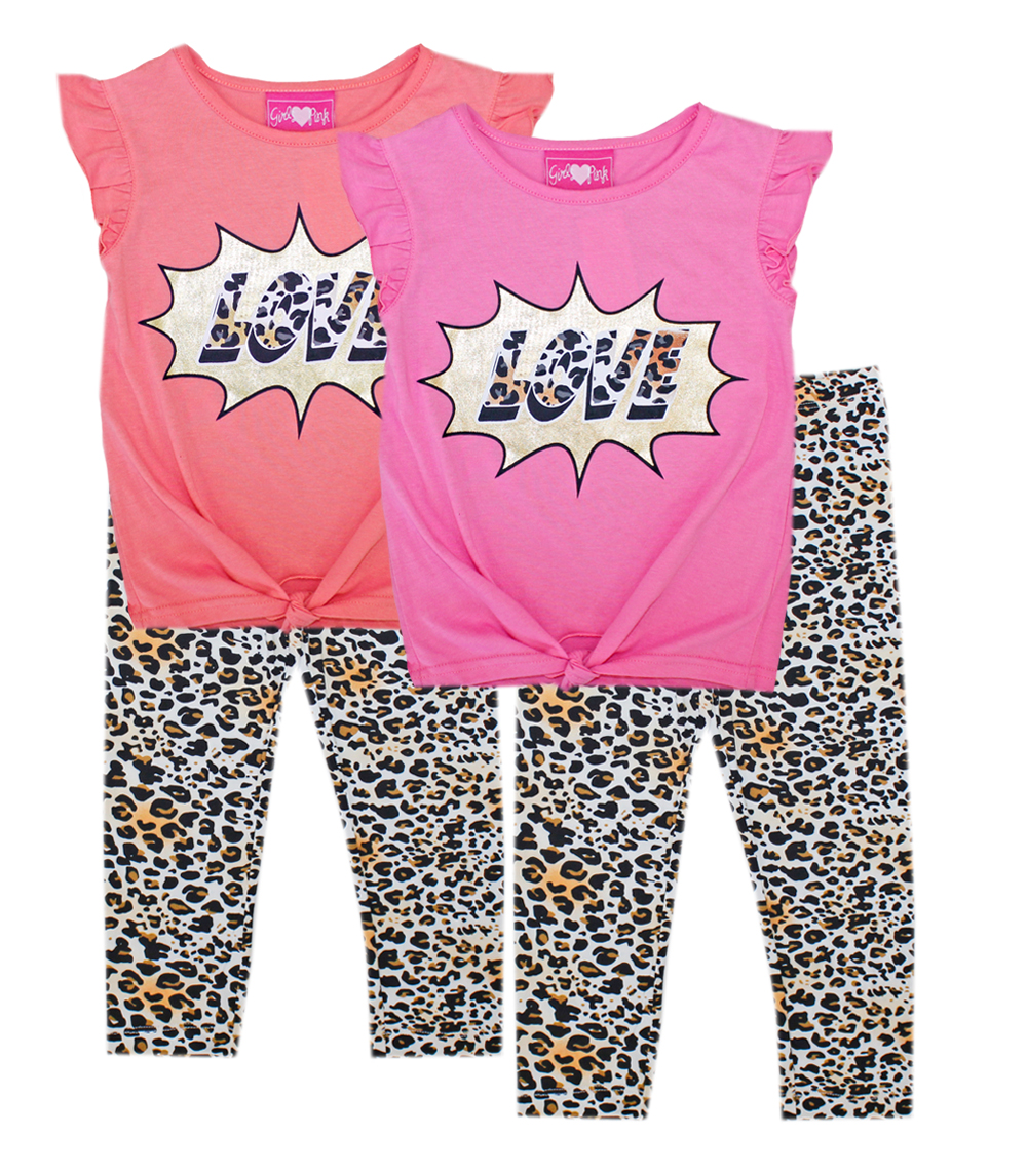 GIRLS PINK 4-6X Love Screen Print Top and Legging