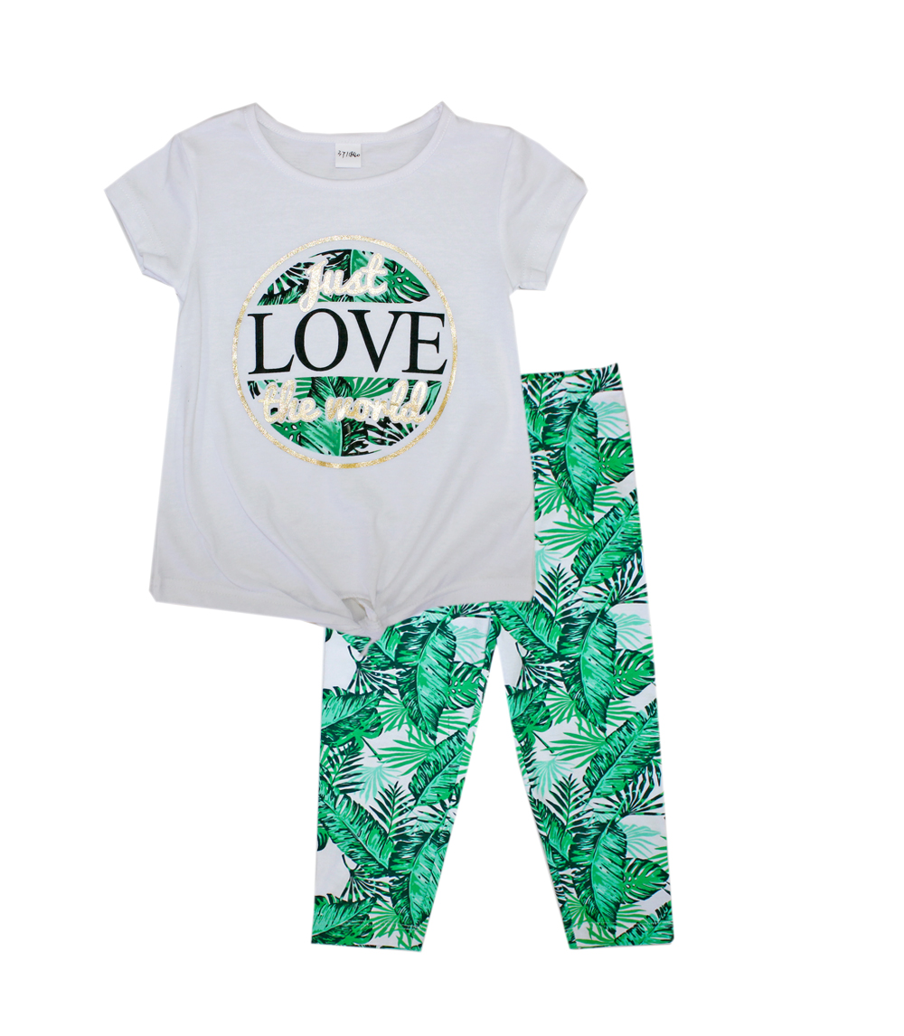 GIRLS PINK Infant Tie Up Top with Leaf Print Legging
