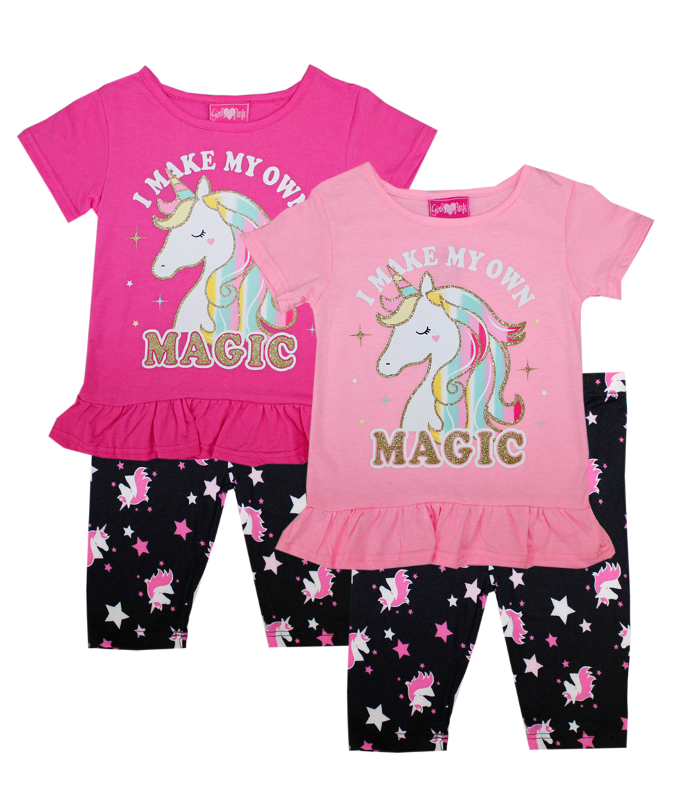 GIRLS PINK Toddler Unicorn Screen Biker Legging