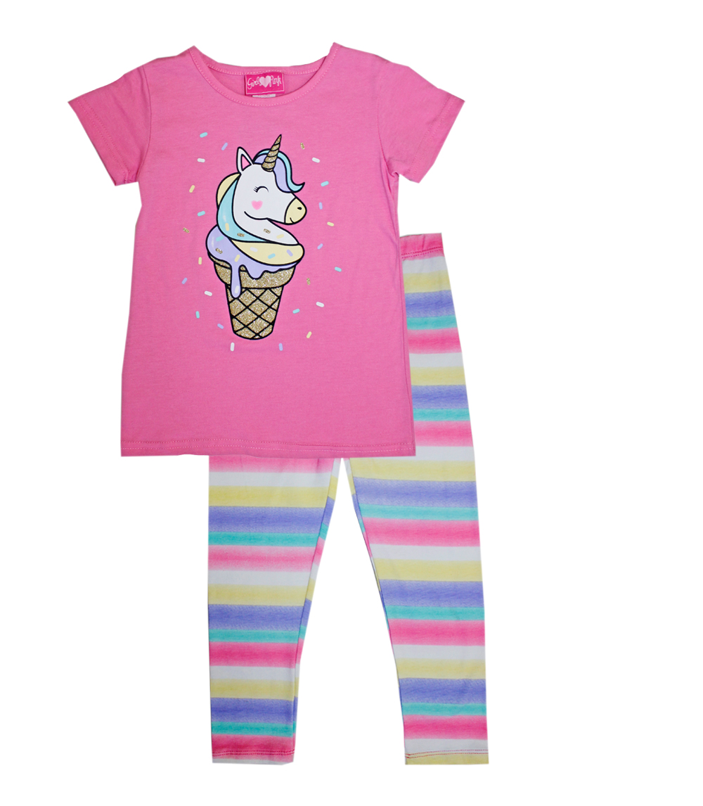 GIRLS PINK Infant Unicorn Ice Cream Cone Screen Legging