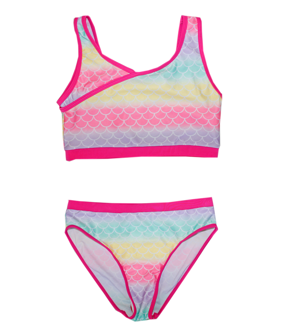 Girls 7-16 Two Piece Swimwear w Cross Front and Panty