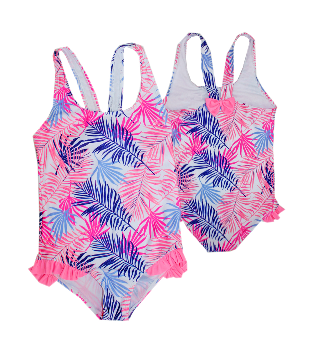 Girls 7-16 One Piece Swimwear w Bow Back and Ruffle on Side of Panty