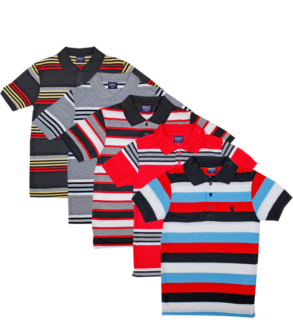 Assorted Color Stripe Polos 4-7