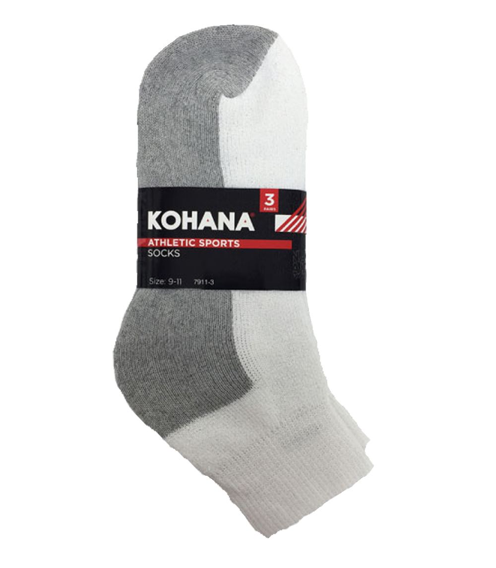 Socks - 9-11 White Grey/Sole Ankle Sport Socks
