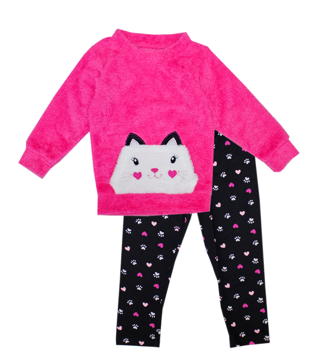 GIRLS PINK 4-6X Cat Fur Pocket Print Legging