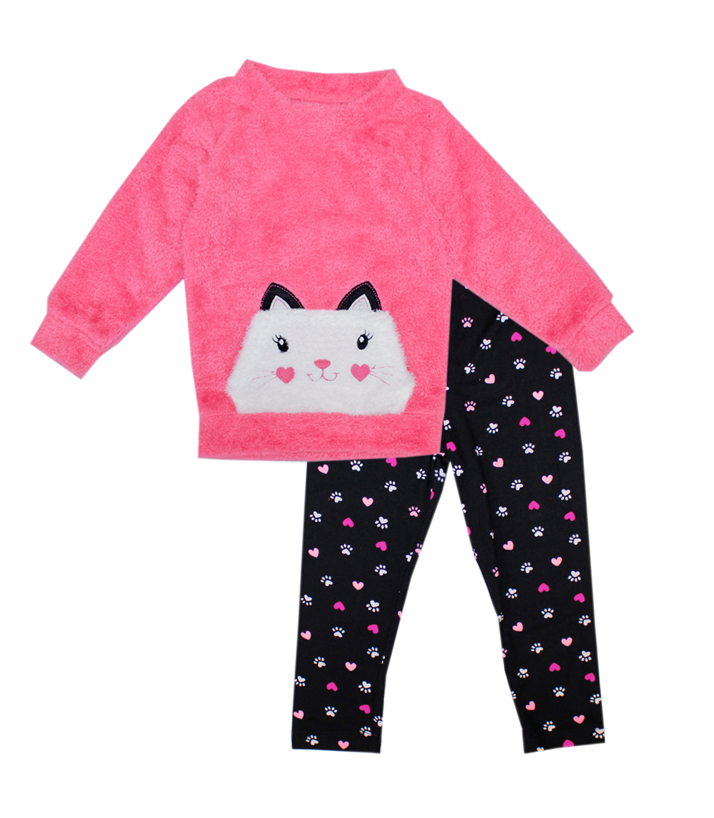 GIRLS PINK Infant Cute Cat Applique 2 PC Set