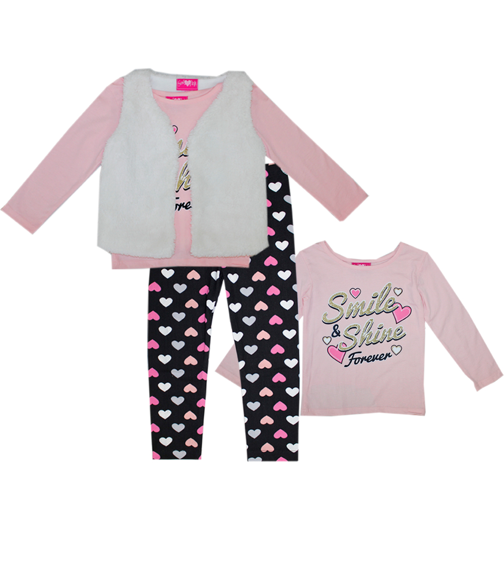 GIRLS PINK 4-6X 3 Pc Smile And Shine Set w Soft Fuzzy Vest