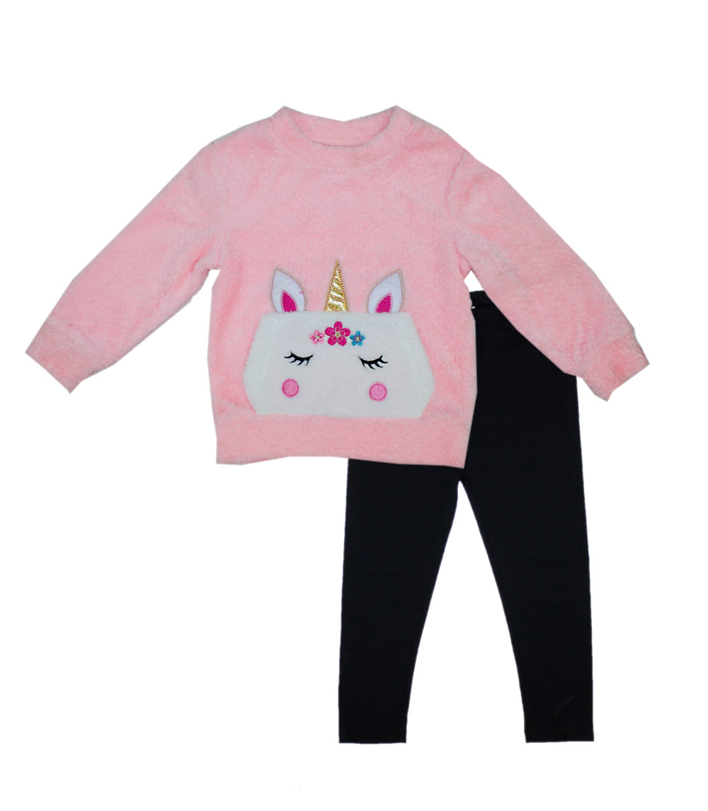 GIRLS PINK Infant Woobie Top w Unicorn and Legging