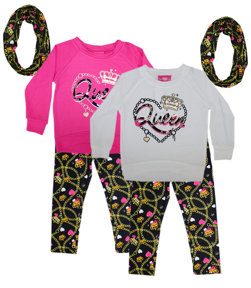 GIRLS PINK 4-6X Girls Queen Print Haci Scarf Set