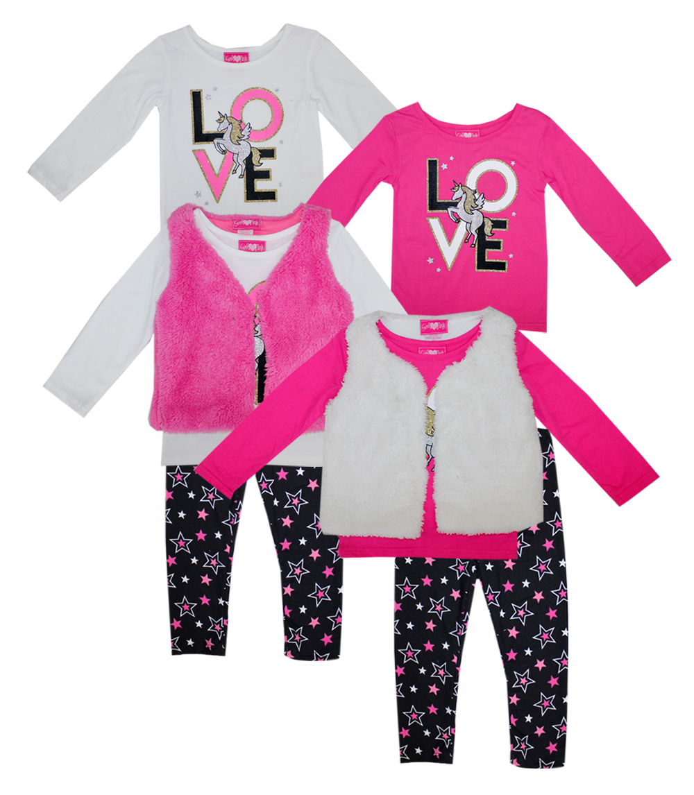 GIRLS PINK Infant 3 Pc Love Unicorn Set w Fuzzy Fur Vest