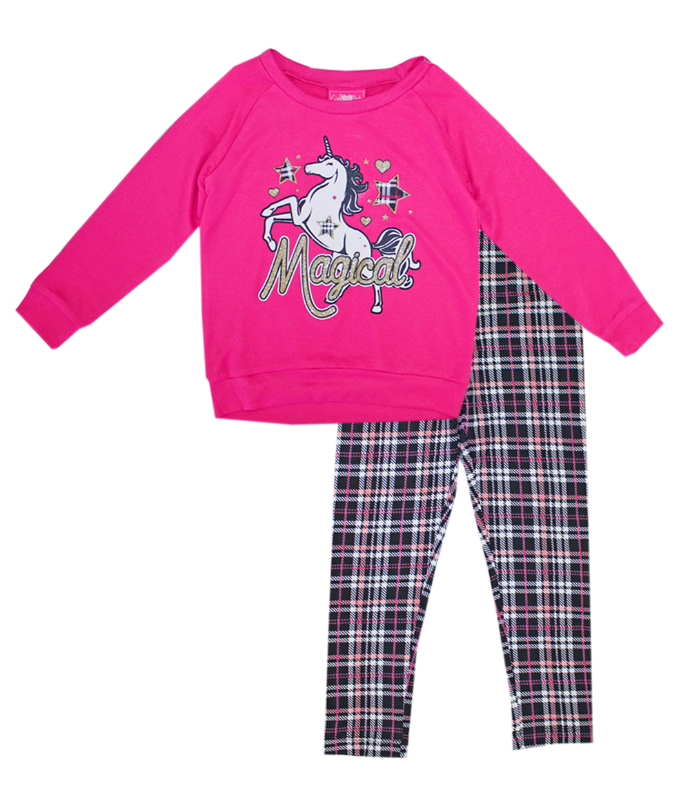 GIRLS PINK Toddler Unicorn Screen Hatchi Top and Legging