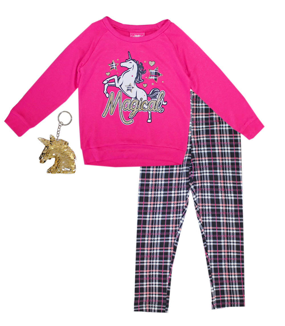 GIRLS PINK 7-16 Unicorn Screen Hatchi Top and Legging